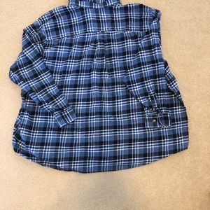 King Size Shirts - Mens soft brushed shirt in blue plaid